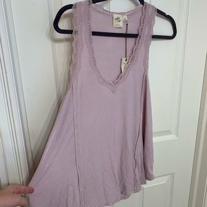 NWT light pink lace ribbed v neck tank top